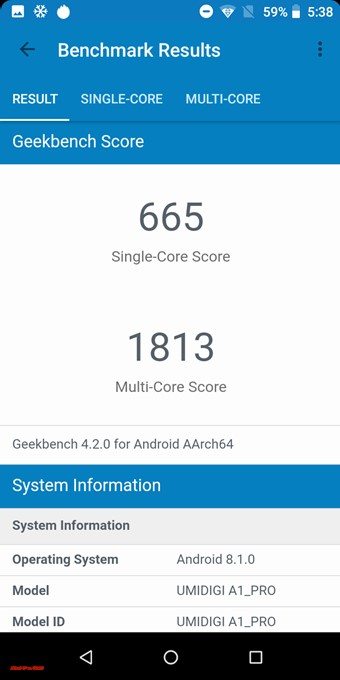Geekbuying 4はシングルコア性能が665点、マルチコア性能が1813点