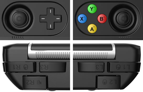 GPD WIN 2は多ボタンに対応するために背面のヒンジ部分の両端にもそれぞれ3つの計6つの物理ボタンを備えています。