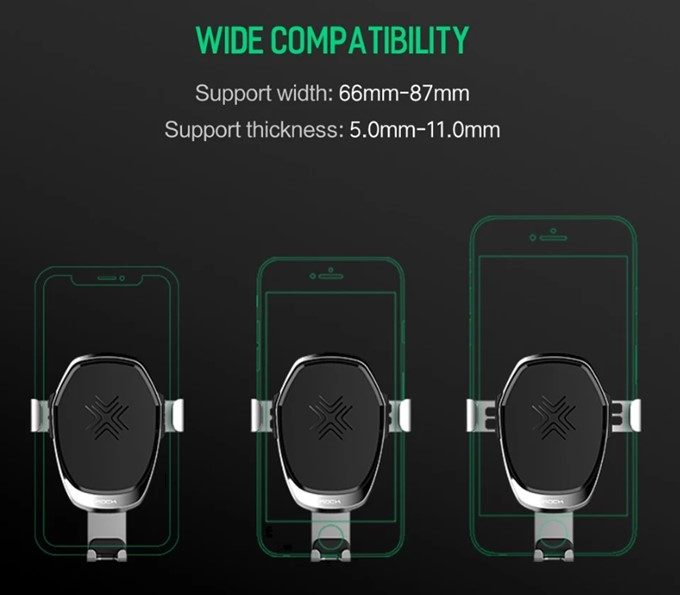 ROCK Wireless Charging Gravity Car Mount 2 in 1 10W Qi Standard Phone Charger Holder