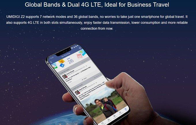 UMIDIGI Z2は4G+4GのDSDVに対応しています。