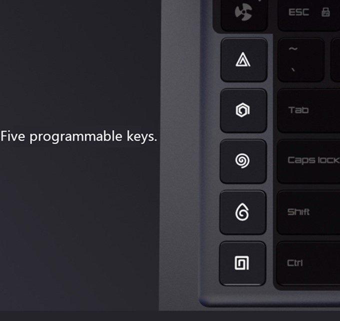 Xiaomi Mi Gamingは専用のプログラムキーをキーボードの左端に縦並びで5つ搭載しています。