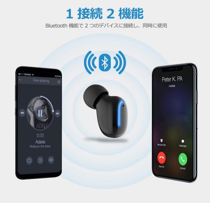 ワイヤレス USB 充電器付き Bluetooth ヘッドホンV4.1 ミニ Bluetooth イヤホン