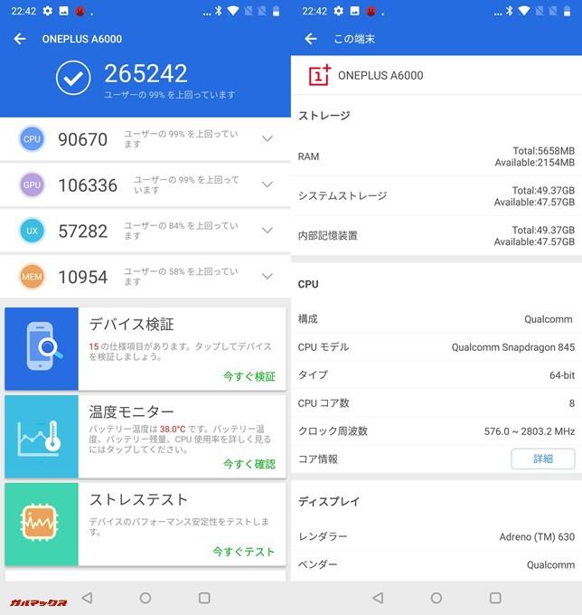 OnePlus 6/メモリ6GB版(Android 8.0.1)実機AnTuTuベンチマークスコアは総合が265242点、3D性能が106336点。