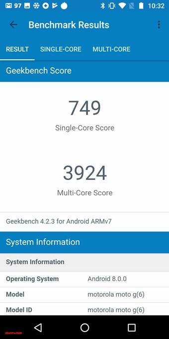 moto g6のGeekbench 4スコアは以下です!シングルコア性能は749点!マルチコア性能は3924点!
