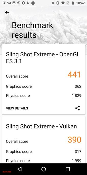 moto g6の3DMarkスコアはOpenGL ES 3.1が441点、Vulkanが390点でした!