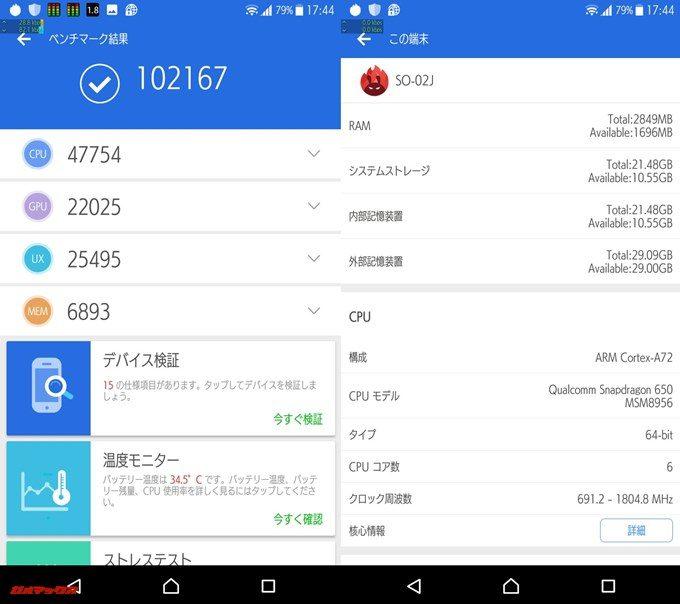XperiaXcompact SO-02J(Android 7.0)実機AnTuTuベンチマークスコアは総合が102167点、3D性能が22025点。
