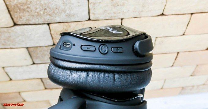 Mpow H5のL側には各種操作ボタンと充電端子が備わっています。