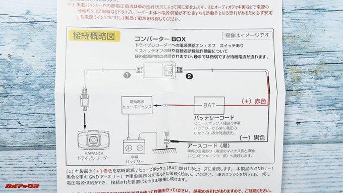 スイッチ付きスマート電源コードの取扱説明書には配線図も掲載されていました。