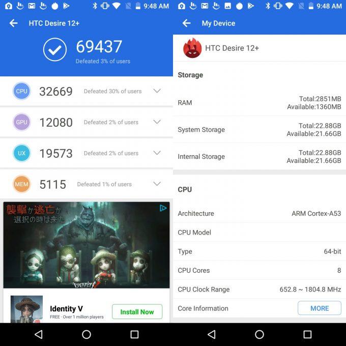 HTC Desire 12+(Android 8.0)実機AnTuTuベンチマークスコアは総合が69437点、3D性能が12080点。