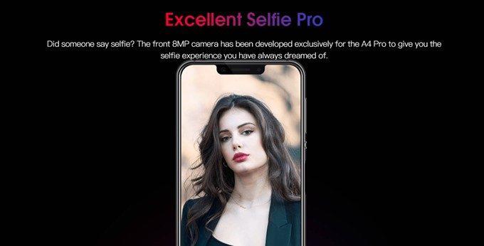 Elephone A4 Proのインカメラは専用設計の800万画素カメラを搭載!