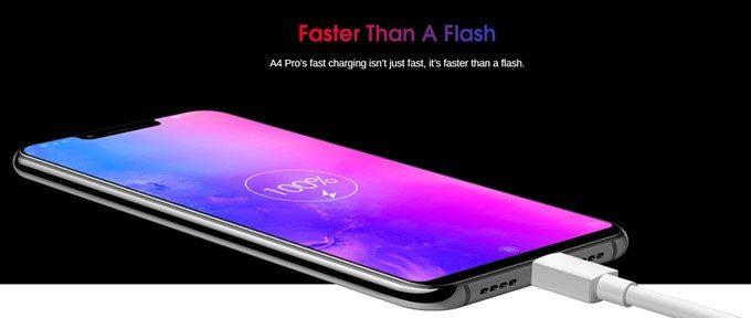 Elephone A4 Proは5V2Aの高速充電ですが、特別早いというわけではありません