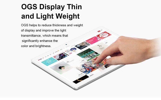 Teclast A10Hは光の乱反射が少なく発色の良いOGSディスプレイを搭載しています。