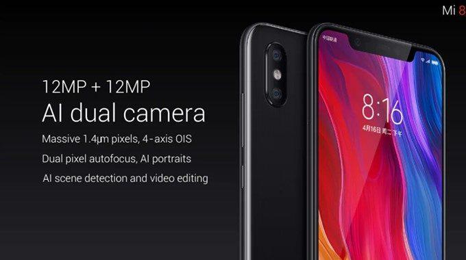 Xiaomi Mi 8はAIデュアルカメラを搭載。片方のカメラは光学ズームレンズを搭載した機能拡張型となっています。