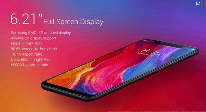 Xiaomi Mi 8は切り欠けディスプレイを搭載しました。
