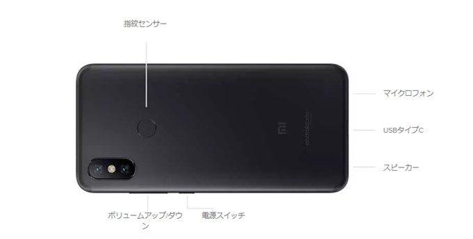 Xiaomi Mi A2の指紋認証ユニットは背面に備わっています。