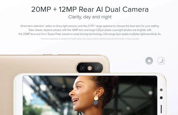 Xiaomi Mi A2はAIに対応したデュアルカメラを搭載しています。