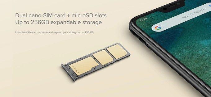Xiaomi Mi A2 LiteはNanoSIMが2枚とMicroSDが一枚入るトリプルスロットを搭載していますが、対応電波的に日本市場では宝の持ち腐れ状態です
