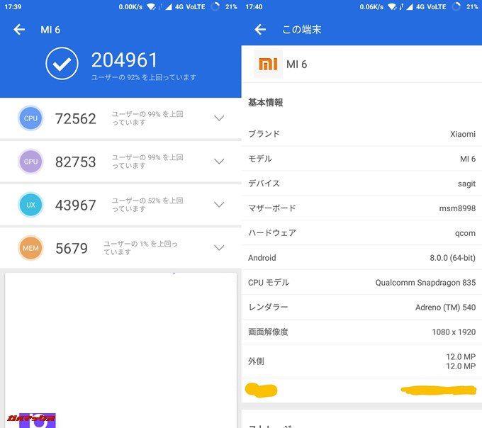 Xiaomi Mi6(Android 8.0)実機AnTuTuベンチマークスコアは総合が204961点、3D性能が82753点。
