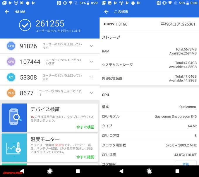 Xperia XZ2 Premium(Android 8.0)実機AnTuTuベンチマークスコアは総合が261255点、3D性能が107444点。