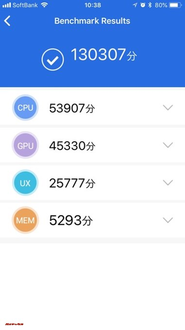 iPhone 6s(iOS 11.3.1)実機AnTuTuベンチマークスコアは総合が130307点、3D性能が45330点。