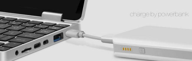 One Netbook One Mixはモバイルバッテリーからの給電にも対応しています。