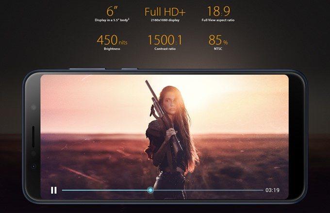 ASUS Zenfone Max Pro (M1)は大型の6型ディスプレイを搭載している。