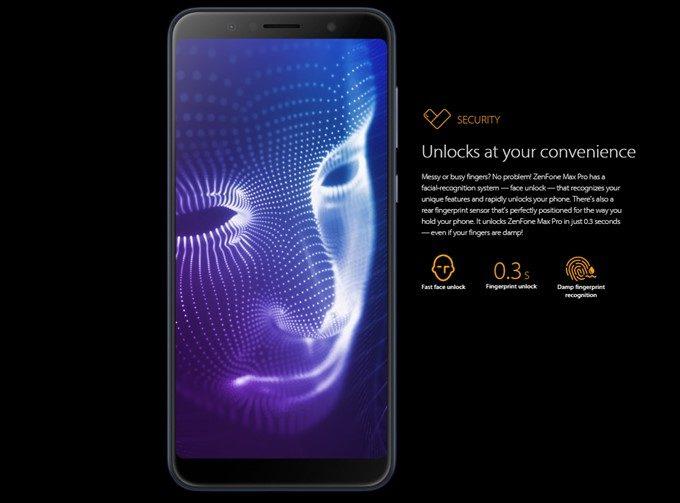 ASUS Zenfone Max Pro (M1)は指紋認証以外に顔認証システムを採用している