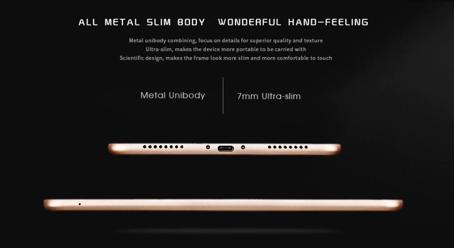 Alfawise Tabは高品質なメタルボディーで薄さは7mmとなっています。
