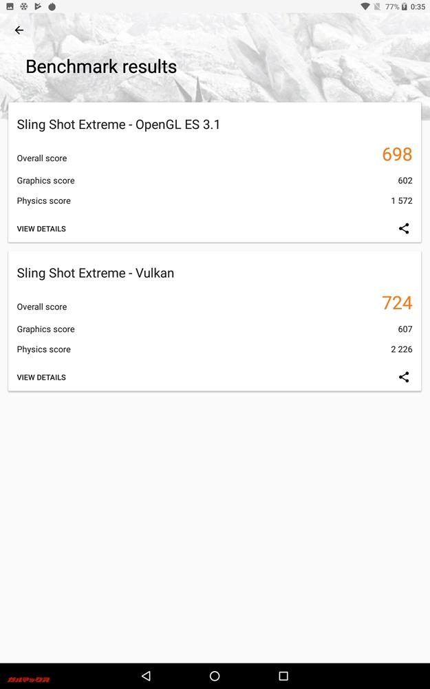 CHUWI Hi9 Proの3DMarkはOpenGL ES 3.1が698点、Vulkenが724点でした!
