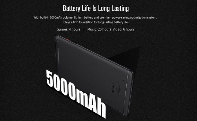 CHUWI Hi9 Proは5000mAhn大容量バッテリーを搭載していますが、バッテリー持ちはそれほど良くありません。屋外で長時間利用する場合はモバイルバッテリーを持っていったほうが良いです。