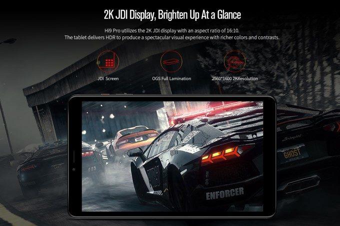 CHUWI Hi9 ProのディスプレイはFHDを超える2Kを採用。JDI製でOGSなので乱反射の少ない美しい映像が楽しめる