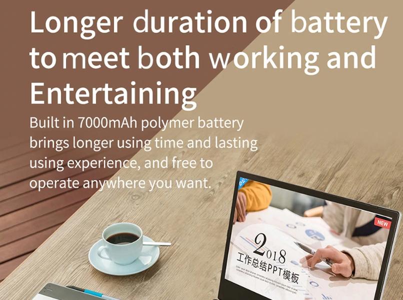 Jumper EZbook X1は7000mAhのバッテリーを搭載しています。