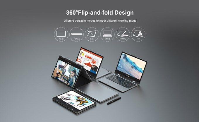 Teclast F5はディスプレイが回転することにより、非常に多彩な利用スタイルで使うことが可能です。