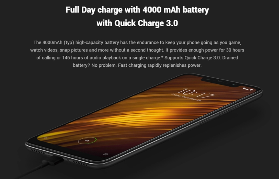 Xiaomi Poco F1は4000mAhの大容量バッテリーを搭載。充電もQC3.0で早い