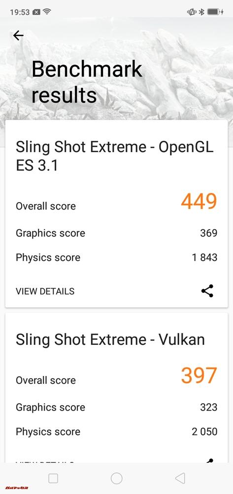 OPPO R15 Neoは3DMarkスコアがOpenGL ES 3.1が449点、Vulkanが397点でした!