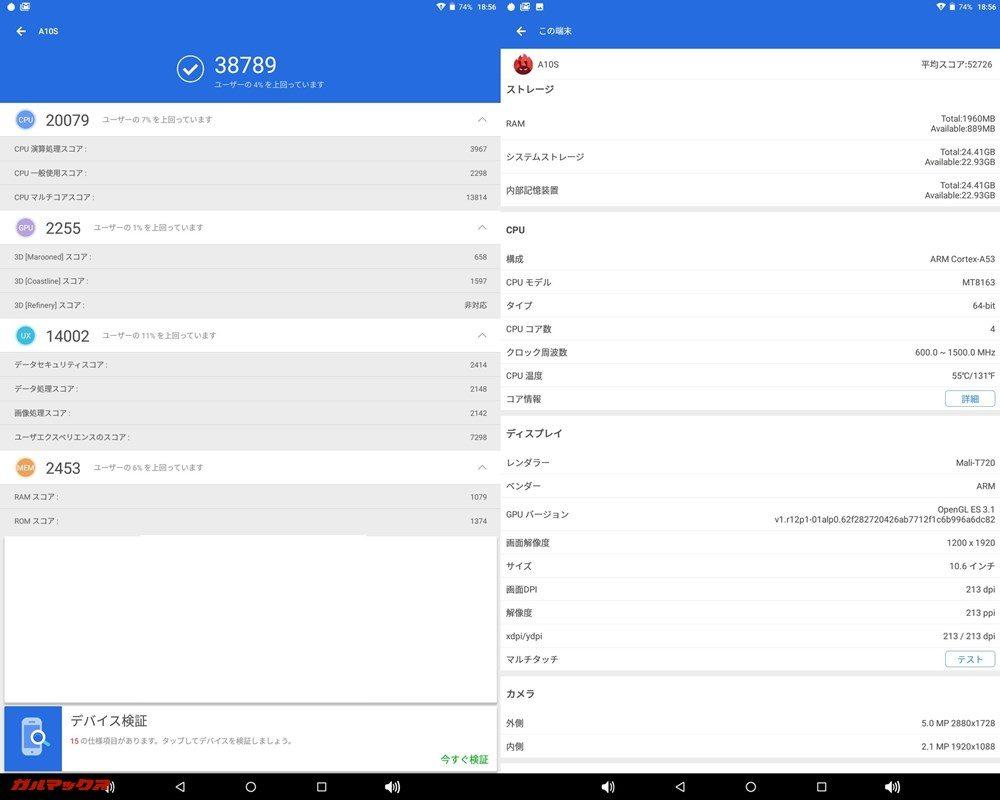 Teclast A10S(Android 7.0)実機AnTuTuベンチマークスコアは総合が38789点、3D性能が2255点。