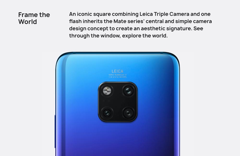HUAWEI Mate 20 Proのカメラユニットは四角