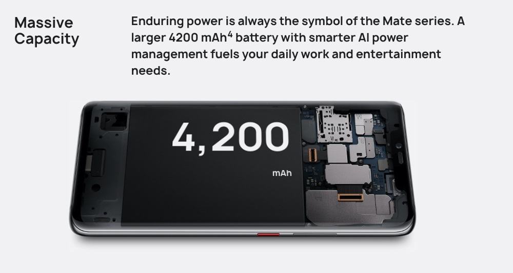 HUAWEI Mate 20 Proは4200mAhのバッテリーを搭載