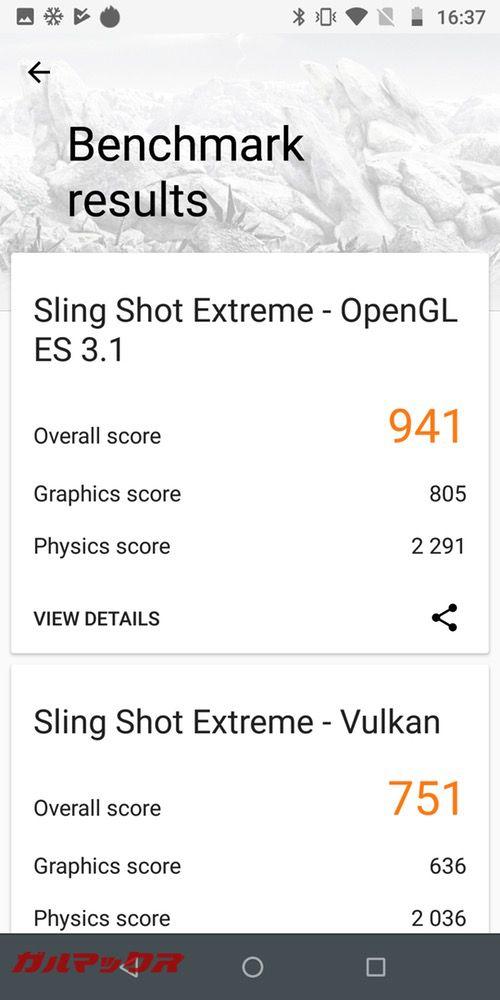 3DMarkのスコアがOpenGL ES 3.1が941点、Vulkanが751点でした!
