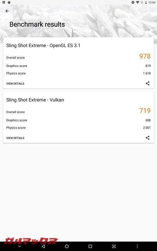 ALLDOCUBE M5Sの3DMarkのスコアはOpenGL ES 3.1が978点!Vulkanが719点!