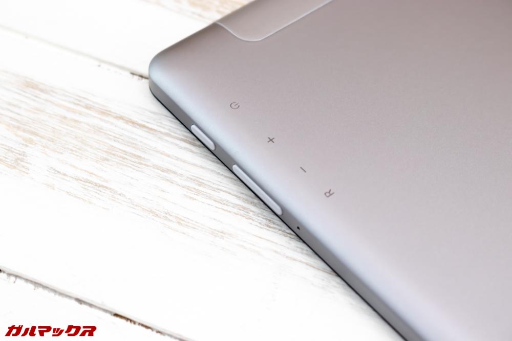ALLDOCUBE M5Sのボタンはディスプレイ右側面に備わっています!