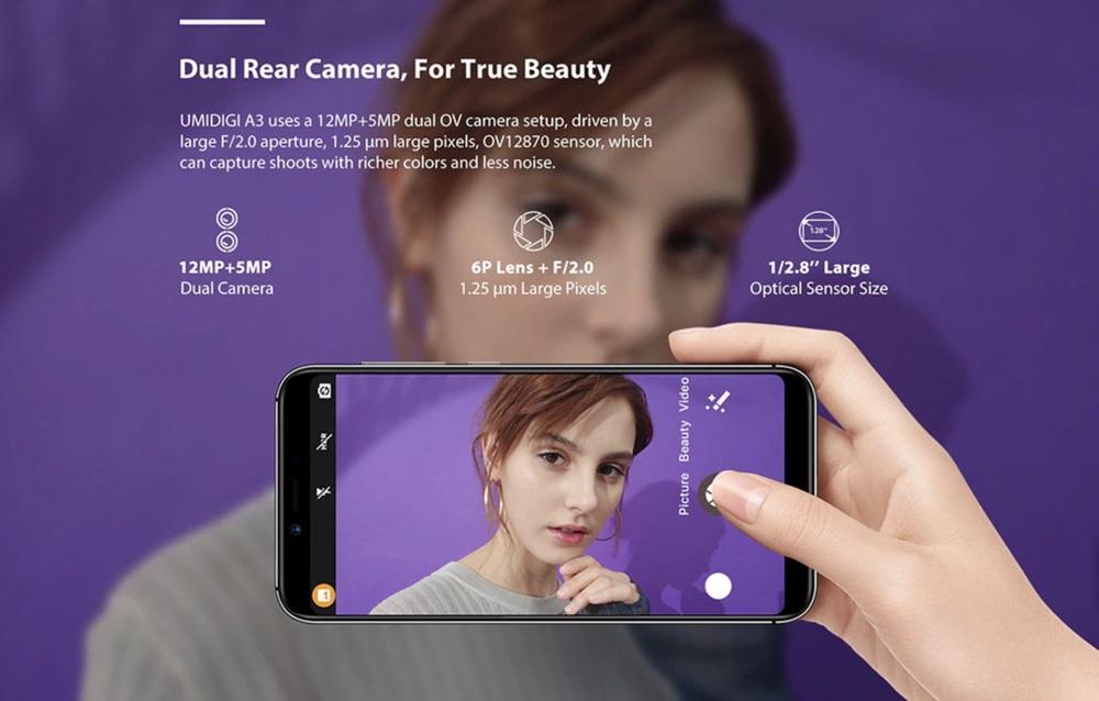 UMIDIGI A3はデュアルカメラを搭載しているが似非の可能性が高い。