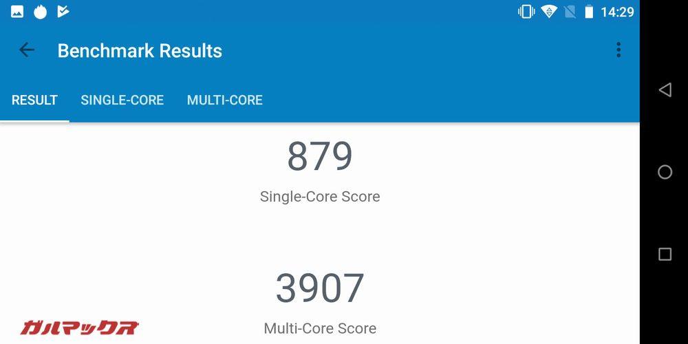 Geekbench 4の実機スコアはシングルコアが879点、マルチコアが3907点!