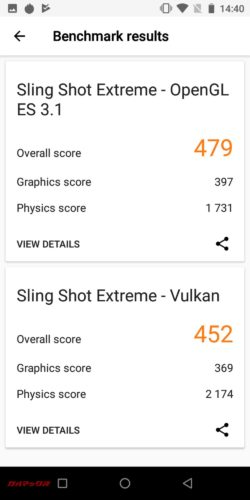 UBOT King Kong 3の3DMarkスコアはOpenGL ES 3.1が479点、Vulkanが452点