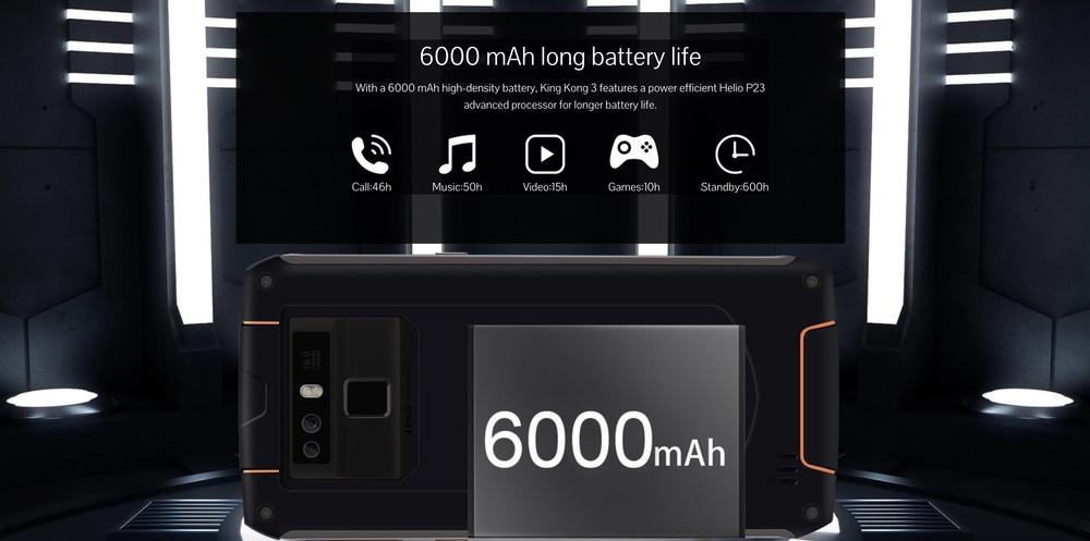 CUBOT King Kong 3は6000mAhの大容量バッテリーを搭載!