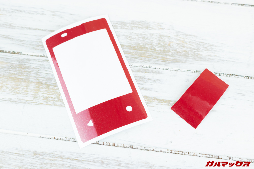 PDA工房製のスキンシールはサンプルフィルムで伸び具合や針付き具合を確認できる。