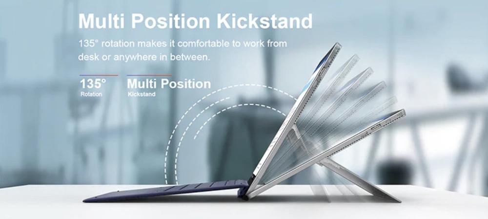 Teclast X6 Proは最大135°まで広がるキックスタンドを搭載しています。