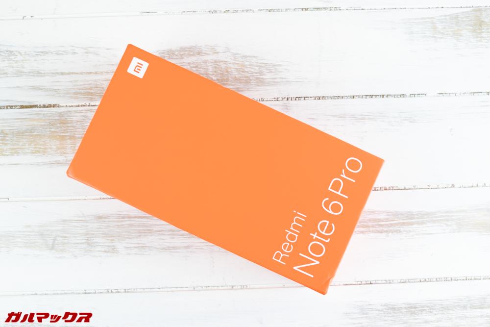 Xiaomi Redmi Note 6 Proの外箱は華やかなオレンジボックス。
