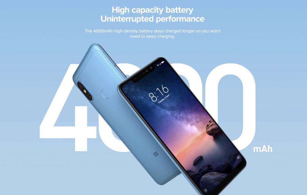 Xiaomi Redmi Note 6 Proは4000mAhの大容量バッテリーを搭載