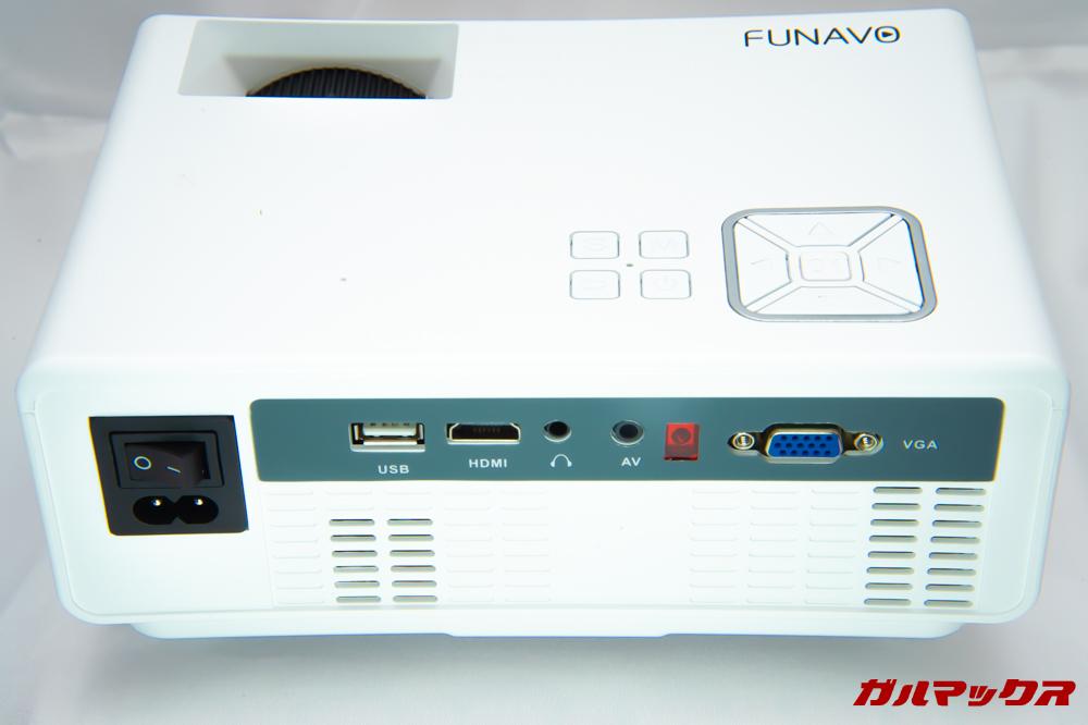 FUNAVO RD815の背面には各種端子が備わっています。
